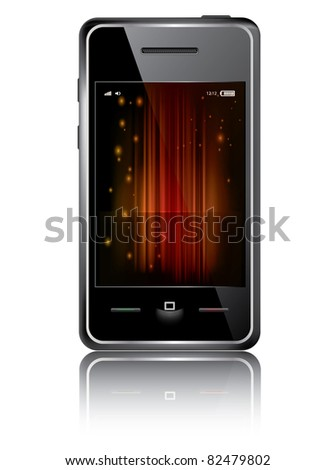 Touchscreen smartphone with abstract background isolated on the white background