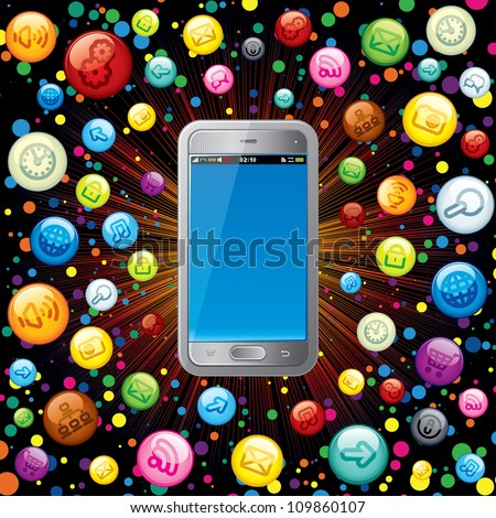 Touchscreen Smartphone with Cloud of Application Icons. Vector Concept