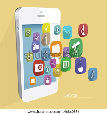 Touchscreen smartphone with cloud of colorful application icons . Vector illustration.