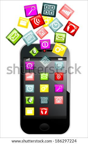 Touchscreen smartphone with colorful application icons isolated on white background