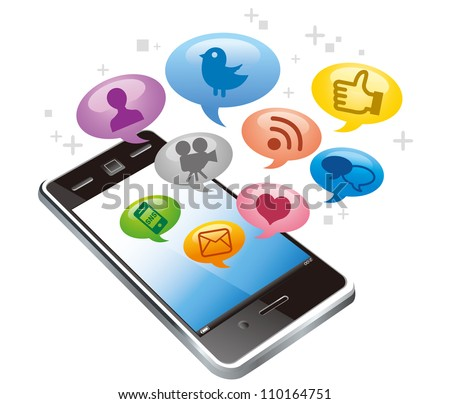 Touchscreen smartphone with social media icons isolated on white background vector