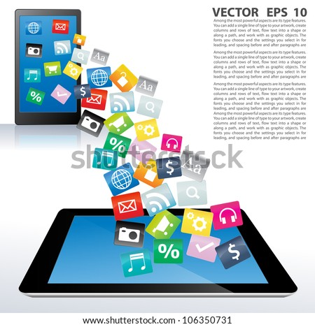 Touchscreen tablet pc with cloud of colorful application. Vector illustration.