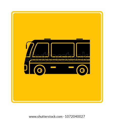 tour bus icon in yellow background