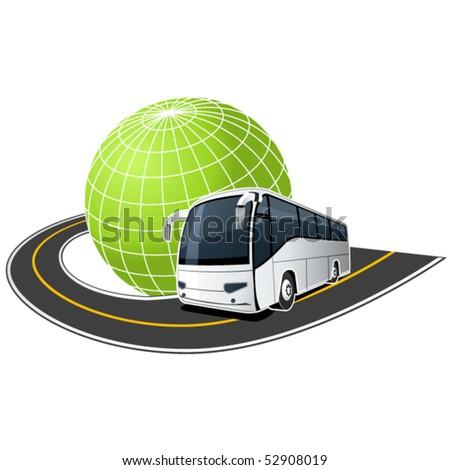 Tour Bus on the road around the globe