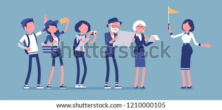 Tour guide lady and group of tourists. Female helper showing people places of interest, explains details about city or country they visit for pleasure. Vector illustration, faceless characters