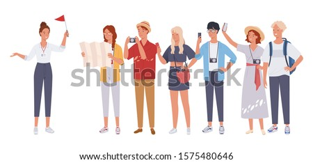 Tour guide lady and group of tourists. Vector illustration in a flat style