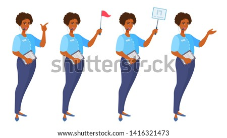 Tour guide shows something with her palm, index finger, holds a placard, red flag, clipboard. Attractive woman in trousers and a shirt guiding an excursion. Vector cartoon flat style illustration.