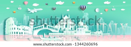 Tour italy famous landmarks Europe downtown by gondola, balloon, plane, Travel cityscape architecture downtown to Rome, Venice  with origami paper cut for landmark poster and postcard,Vector illustration