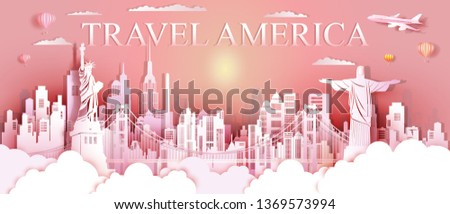 Tour landmarks United States and south America famous monument architecture downtown, Travel landmark with golden gate bridge Connect to Christ Redeemer, Tourism sculpture world, Vector illustration.