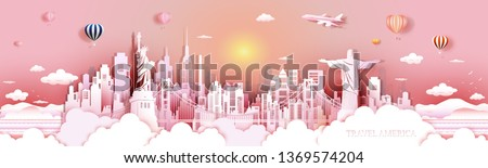 Tour landmarks United States and south America famous monument architecture skyline, Travel landmark with golden gate bridge two On ocean side, Tourism sculpture world, Vector illustration seascape.