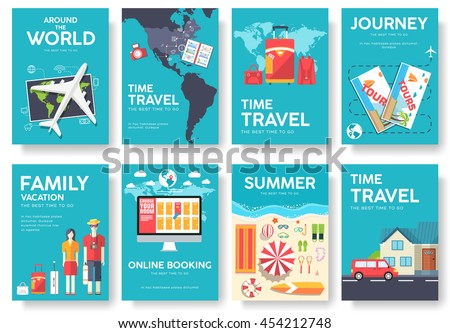 Tour Of The World Vector Brochure Set Travel Template Flyear Magazines Posters