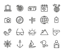 Tour, Travel and Vacation Icons Set