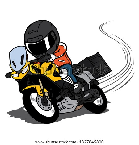 Touring Motorcycle overtake on a curve cartoon