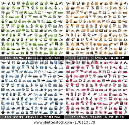 Tourism and Recreation & Vacation, 660 icons set. Sport and Travel pictogram with reflection, vector illustration
