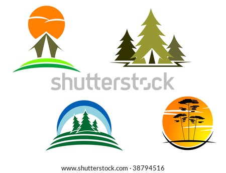 Tourism and travel symbols for design, such as emblem or logo template.