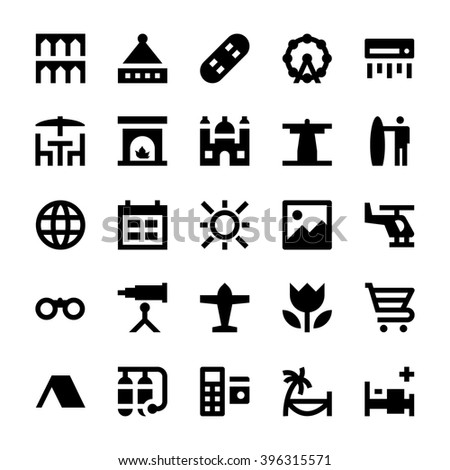 tourism and travel vector icons