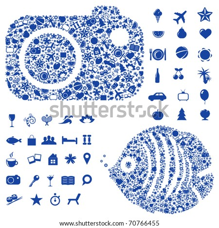 Tourism And Vacation Symbols And Icons, Isolated On White Background, Vector Illustration
