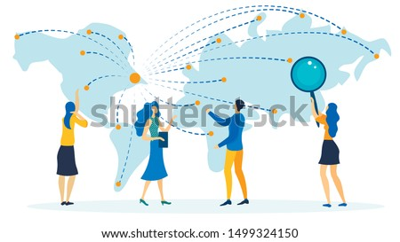 Tourism Destinations Flat Vector Illustration. Cartoon Travel Agent Offering Vacation Trips, Routes to Different Countries on Map. Girl, Student, Job Seeker with Magnifier Looking for Vacancies Abroad