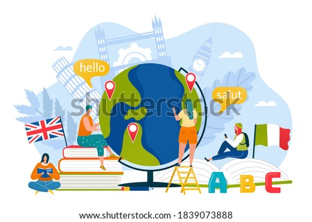 Tourism education in online school concept, vector illustration. Speak with translation communication in travel, student people person design. Flat foreign language culture background. Foto stock ©