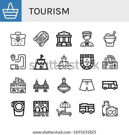 tourism icon set collection of