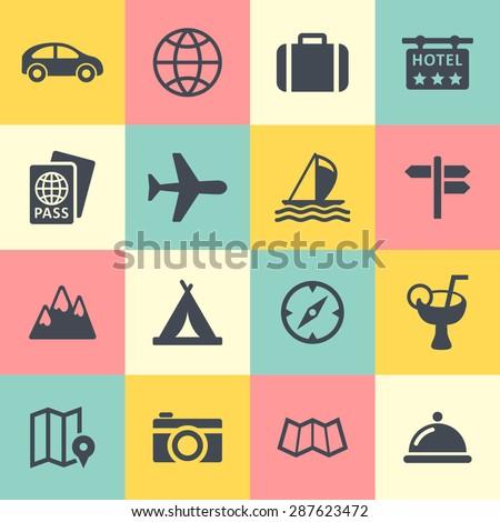 Tourism icon set for web