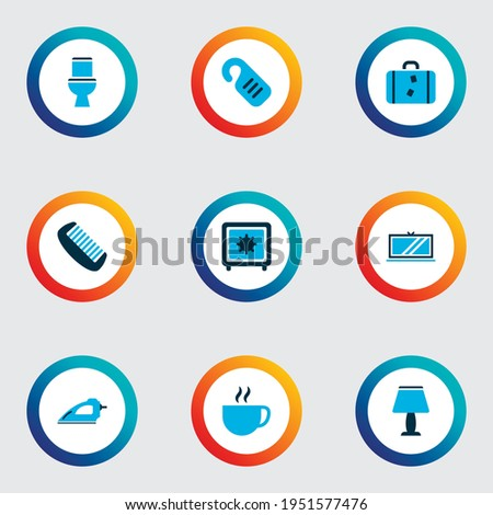 Tourism icons colored set with toilet, safe, tv and other television elements. Isolated vector illustration tourism icons. ストックフォト ©