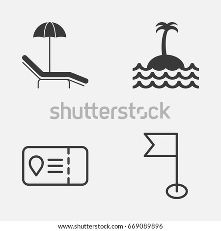 Tourism Icons Set. Collection Of Trip Access, Relax Chair, Reef And Other Elements. Also Includes Symbols Such As Ensign, Sea, Palm.