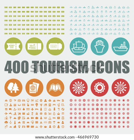 Tourism icons. Travel vector graphic. Holiday web elements. Summer pictogram. Boat art objects.