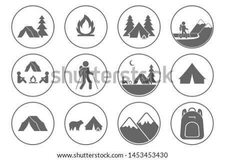 Tourism icons. Trekking, hiking, mountaineering, backpacking, camping symbols. Vector.
