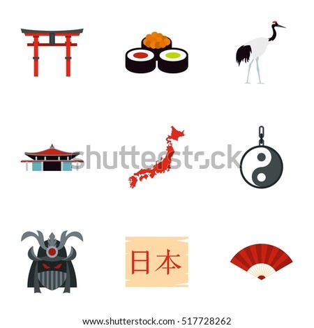 tourism in japan icons set