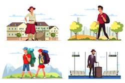 Tourism on vacation cartoon scene people flat set. Man and woman walking in park, travelling with baggage, luggage, backpack, arriving at airport. Journey or business trip. Vector illustration