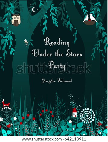 Tourism or night social event forest vertical banner. Background with night doodle flowers, trees, moon, and stars