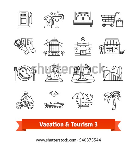 Tourism & vacation recovery. Thin line art icons set. Hotels infrastructure, sports, hiking, recreation activities. Linear style symbols isolated on white.