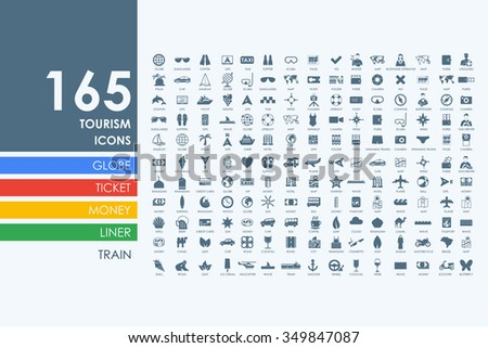 tourism vector set of modern simple icons