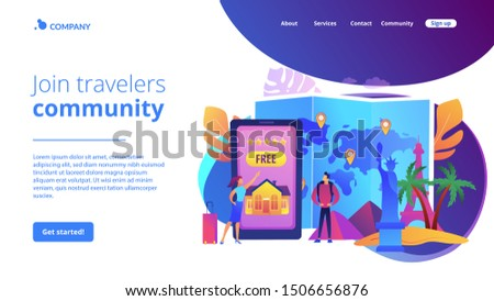 Tourist agency mobile app. Worldwide sightseeing tours. Hospitality and travel clubs, join travelers community, free homestay arrangement concept. Website homepage landing web page template.