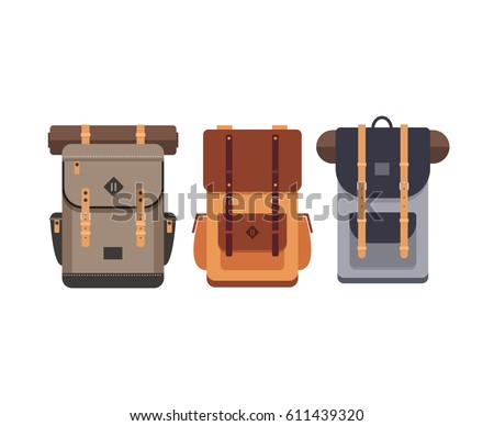 Tourist backpack. Outfit of traveler. Hiking travel. Flat vector illustration.
