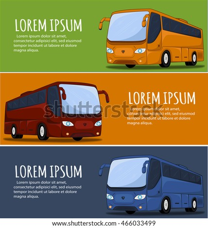Tourist bus banner. City Bus. Bus icon. Big tour bus vector illustration. Illustration of coach buses.
