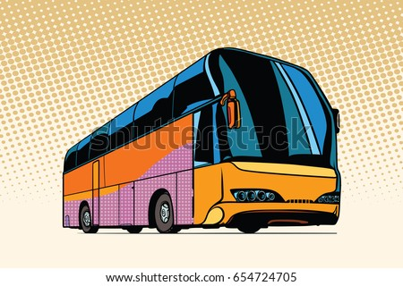 tourist bus, public transport. Pop art retro vector illustration