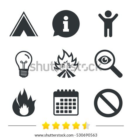 tourist camping tent icon fire