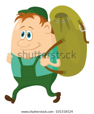 Tourist cartoon character hiker with a backpack going on vacation