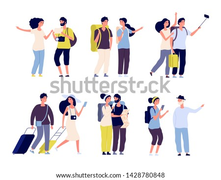 Tourist characters. Young couple family, tourists travelling with backpacks and bags, suitcases. Summer vacation people isolated vector. Illustration of summer tourist character, woman and man