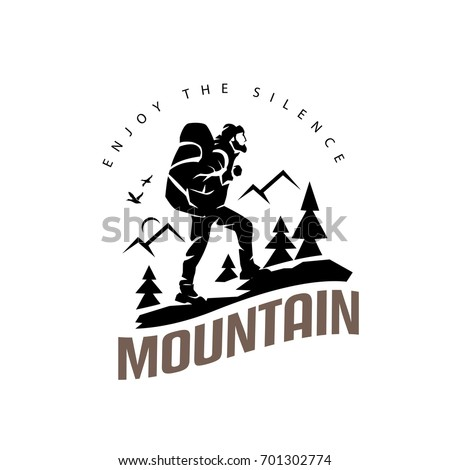 tourist climbs the mountain symbol, travel and expedition logo template