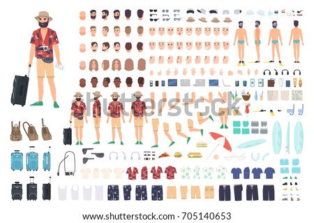 Tourist creation set or DIY kit. Collection of cartoon character's body parts, face with different emotions and skin colors isolated on white background. Vector illustration front, side, back view.
