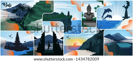 Tourist destinations in Bali. Vector background for banner. EPS10
