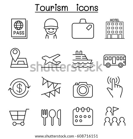 Tourist icon set in thin line style