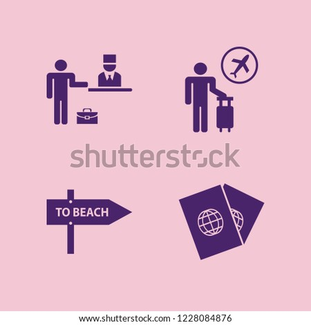 tourist icon. tourist vector icons set passports, check in hotel, tourist flying and beach direction