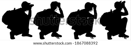 Tourist in a baseball cap with a backpack behind his back stares into binoculars. Boy sat down and looked into binoculars. Man is bird watcher. Black silhouettes are isolated on a white background. Stock photo ©