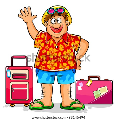 tourist in summer clothes ready to visit tropical destinations