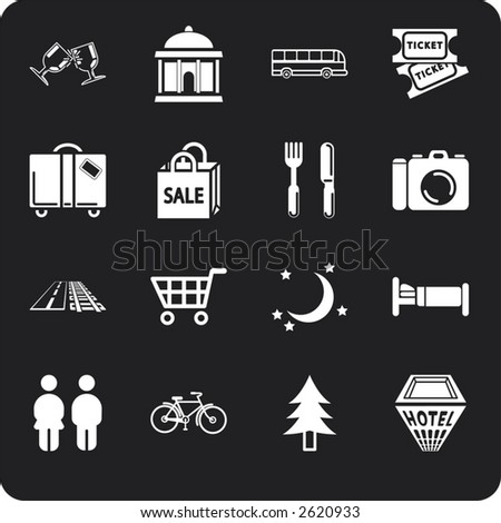 Tourist locations icon set Icon set relating to city or location information for tourist web sites or maps etc.