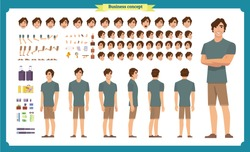 Tourist male, vacation traveller character creation set. Full length, Front, side, back views, face emotions, poses and gestures. Build your own design. Cartoon flat-style infographic vector isolated